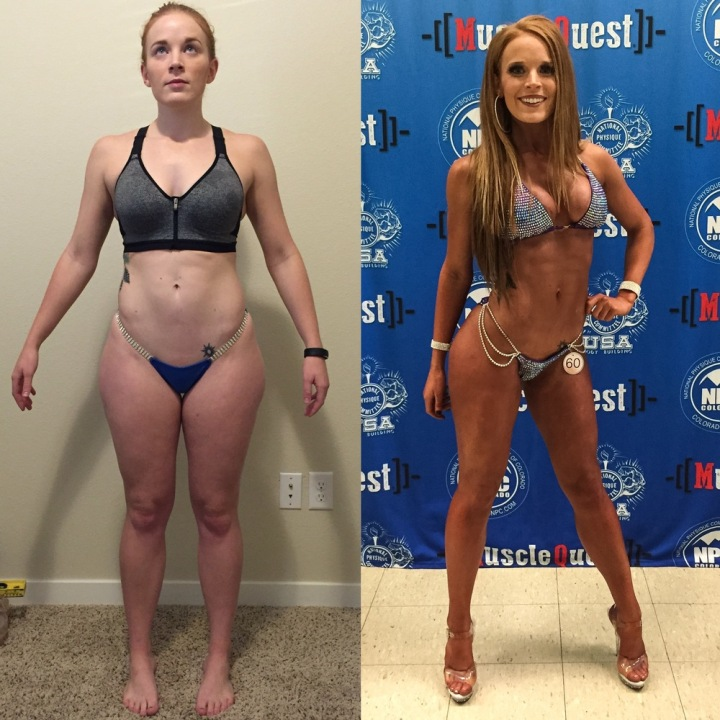 Left: first photo sent to SoBoss - December 2015      Weight: 143.0       Waist: 28in      Hips: 43in Right: after pre-judging at the NPC Southern Colorado - April 30, 2016      Weight: 128.8 (show day, lowest weigh in 127.4)      Waist: 24 (measurement taken 6 days before show day)      Hips: 37.5 (measurement taken 6 days before show day)