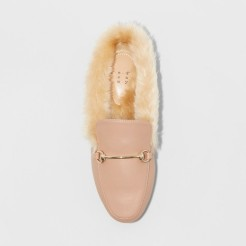 Nude Top View Furry Flats